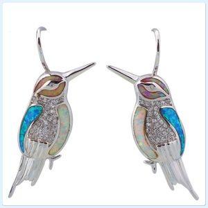 NWT 925 Sterling Silver Blue Fire Opal Earrings